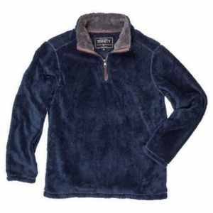 Trinity Men's Plush ¼ Zip Pullover, Navy/Charcoal